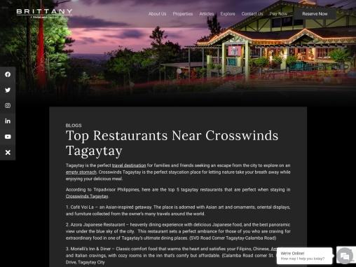 Top Restaurants Near Crosswinds Tagaytay