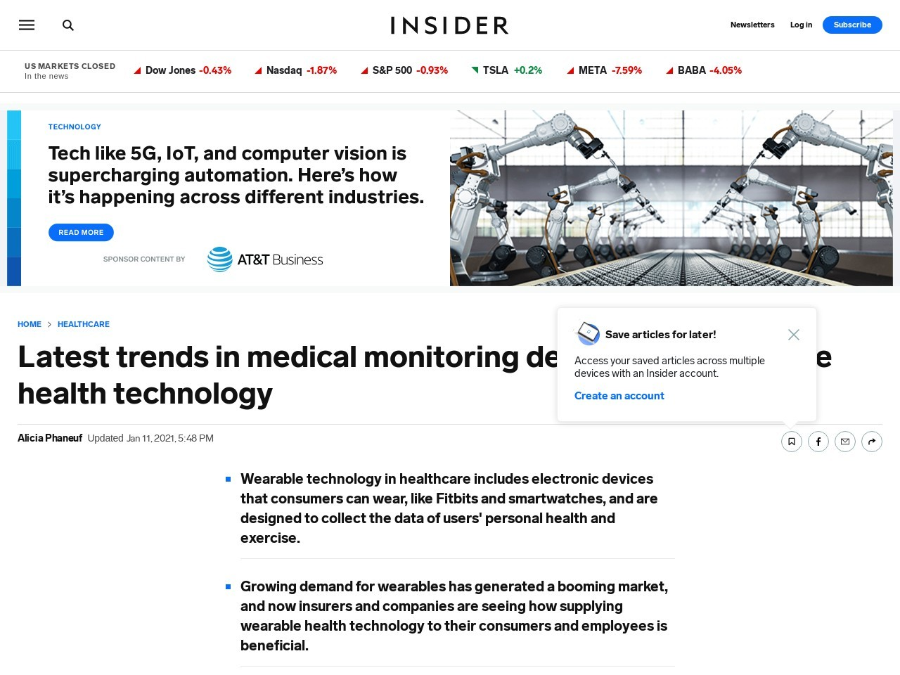 Latest trends in medical monitoring devices and wearable health…