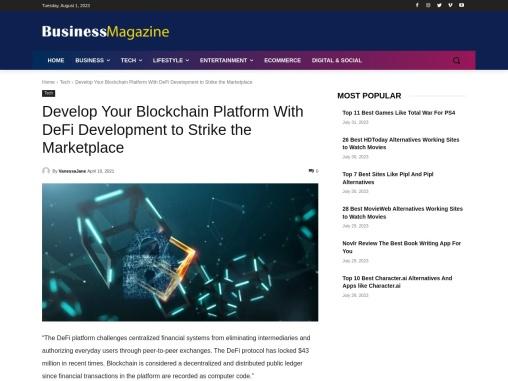 DeFi Development to Strike the Marketplace