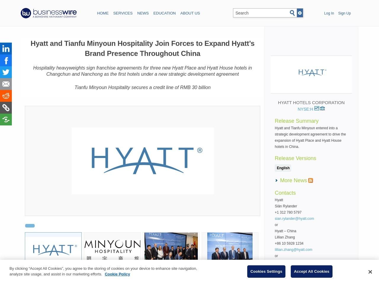 Hyatt and Tianfu Minyoun Hospitality Join Forces to Expand Hyatt's…