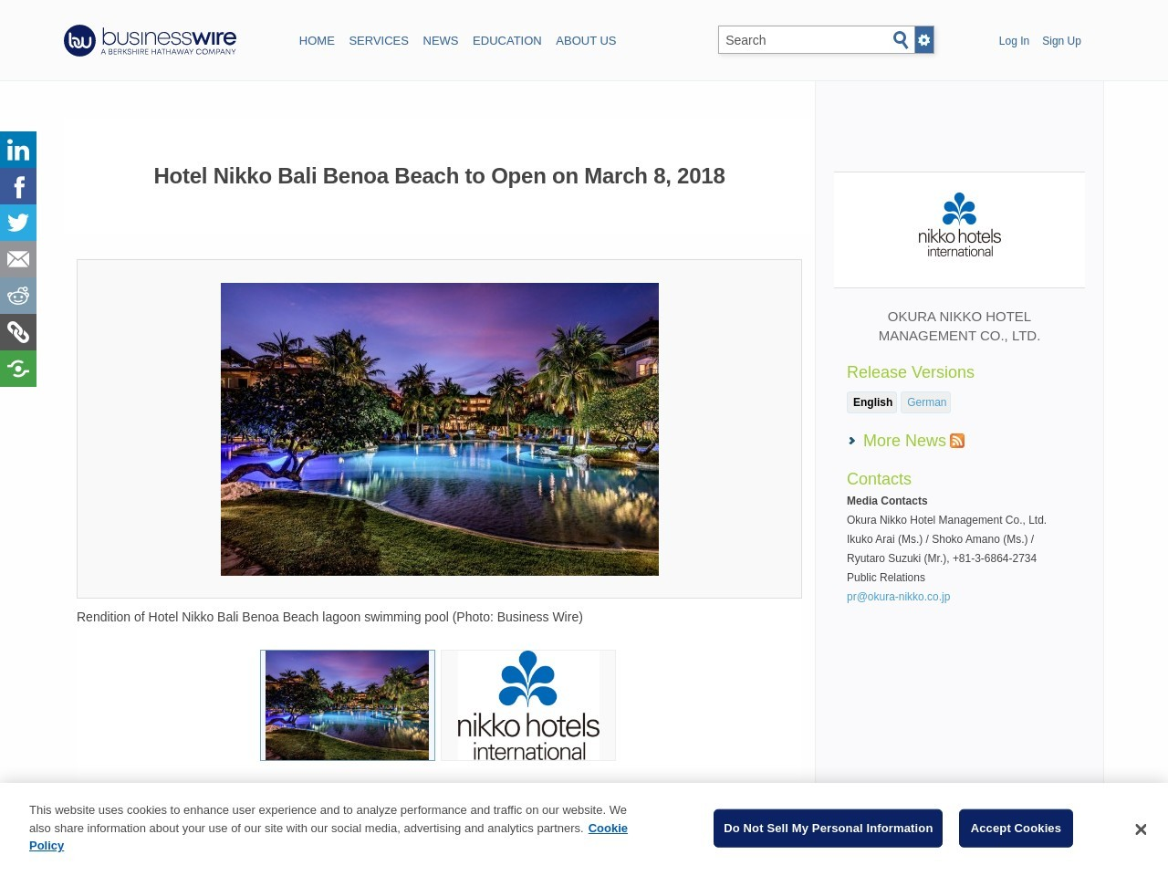 Hotel Nikko Bali Benoa Beach to Open on March eight, 2018