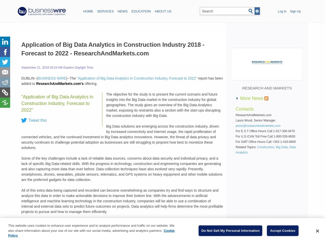 Application of Big Data Analytics in Construction Industry 2018 – Forecast to 2022 – ResearchAndMarkets.com