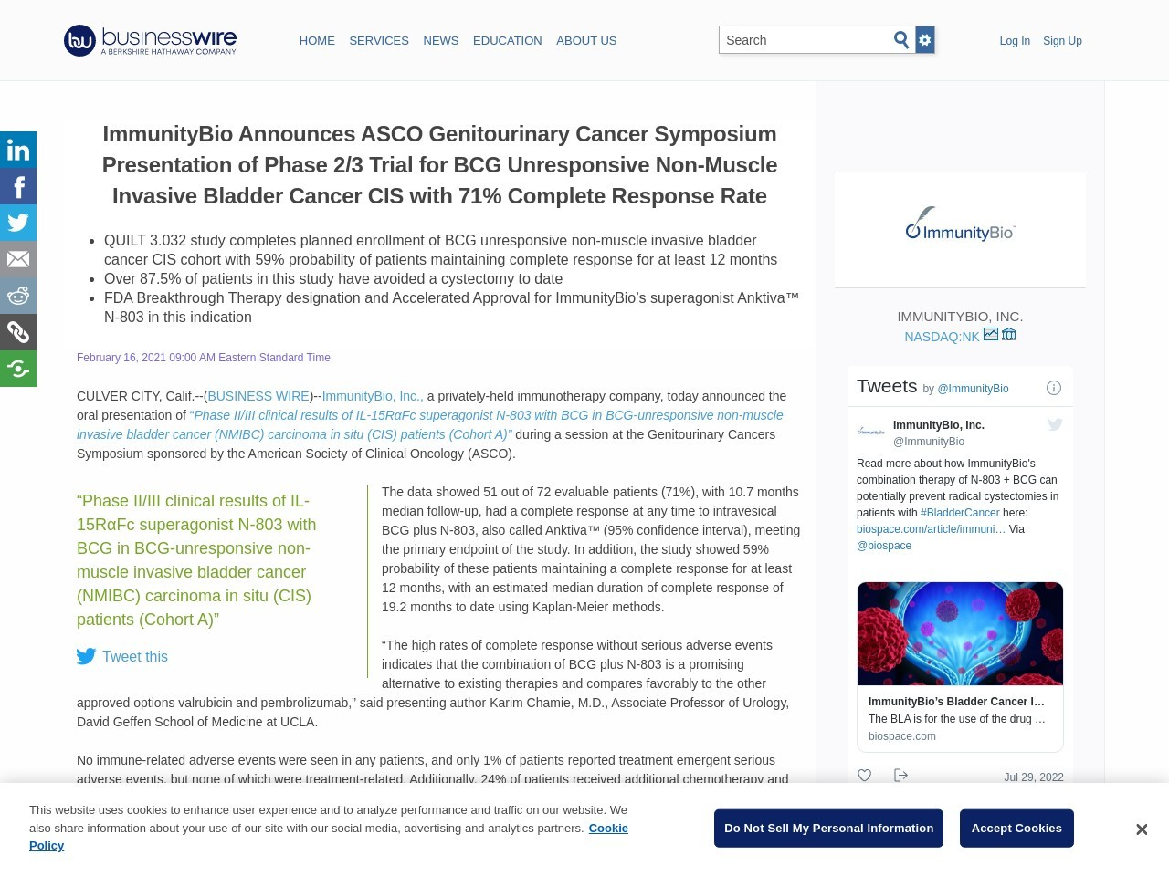ImmunityBio Announces ASCO Genitourinary Cancer Symposium Presentation of Phase 2/3 Trial for BCG Unresponsive Non-Muscle Invasive Bladder Cancer CIS with 71% Complete Response Rate