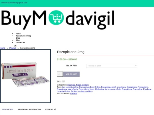 Eszopiclone 2mg COD in USA | Buy Cheap Lunesta Pills Overnight