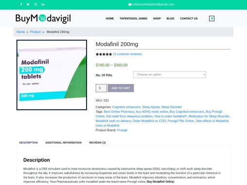 Buy Modafinil 200mg Online | Cognitive Enhancers Provigil COD