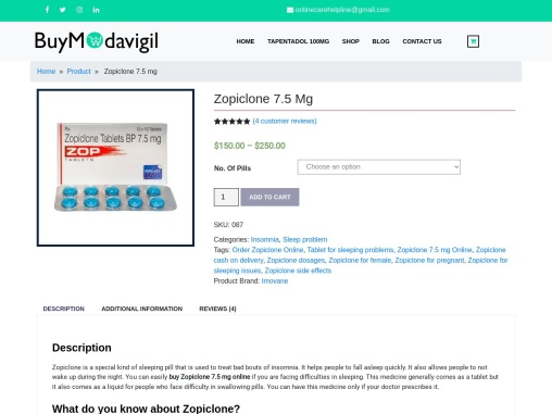 Zopiclone 7.5 mg on sale | Buy Zopiclone Online for Insomnia