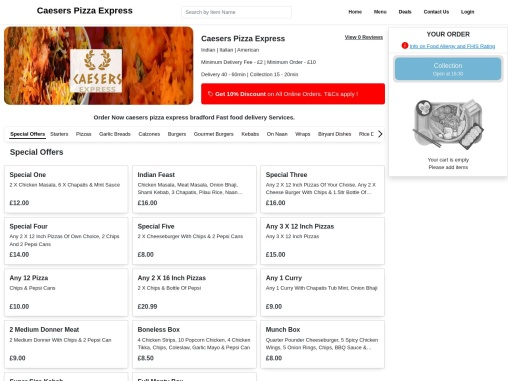 Caesers Pizza Bradford | Indian, American, Turkish Food Delivery