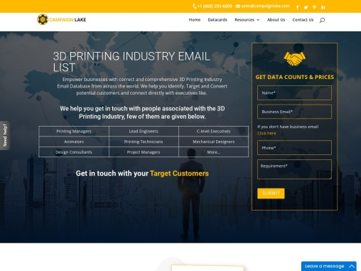 USA Top 3D Printing Industry Email List | Printing Companies Database Providers