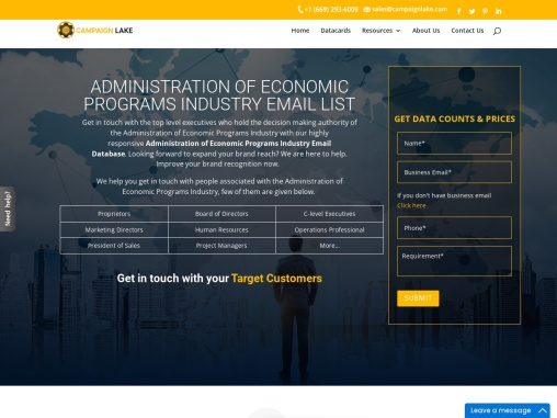 Top Administration – Economic Programs Industry Mailing Addresses  USA