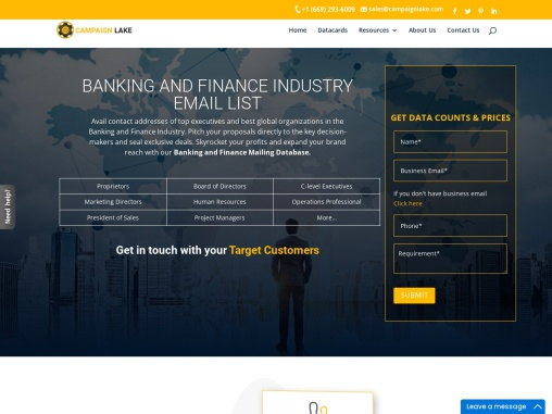 Top Banking And Finance Email List | Finance Mailing database