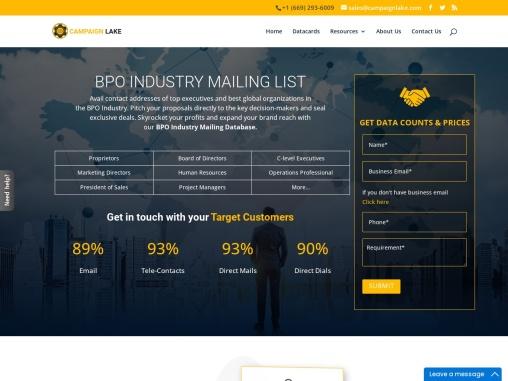 New BPO industry mailing List | BPO industry database Providers |USA
