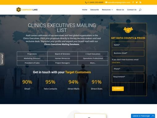 USA New Clinics Executives Mailing List   Clinics Executives Database Providers