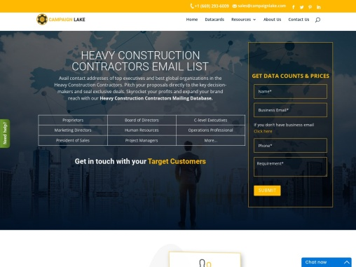 New Heavy Construction Contractors Email List | Construction Builders B2B Database
