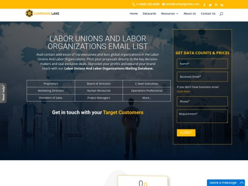 US Labor Unions and Labor Organizations Email List | US Labor Union Database Providers