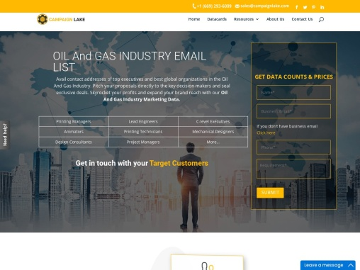 Top Oil And Gas Industry Email List |Oil And Gas Mailing Database |USA