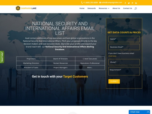 Top National Security And International Affairs Email List| Campaignlake| USA