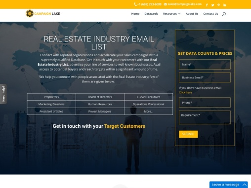 Top Real Estate Industry Email List | Real Estate Mailing Database| USA