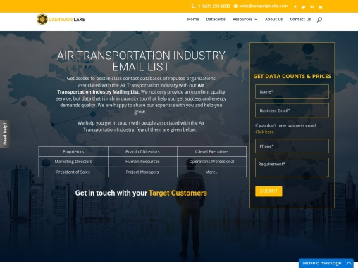 New Air Transportation Industry Email List Database Providers  USA
