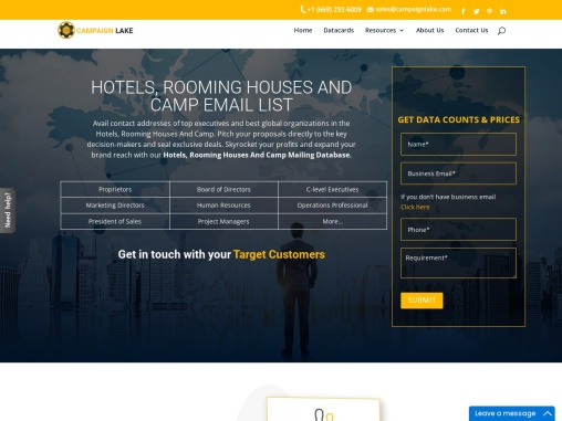 Top Hotels, Rooming Houses And Camp Email List| Hotel Mailing Database |USA