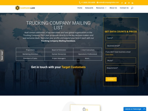 New Trucking Company Mailing List | Trucking Company Contact Details |USA