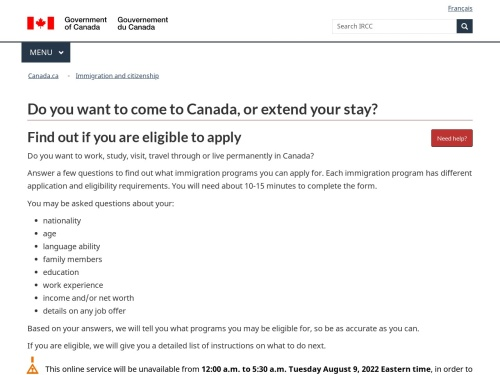 Do you want to come to Canada, or extend your stay?