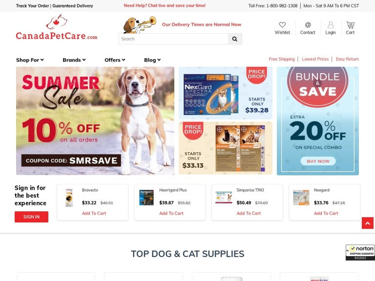 CanadaPetCare.com screenshot
