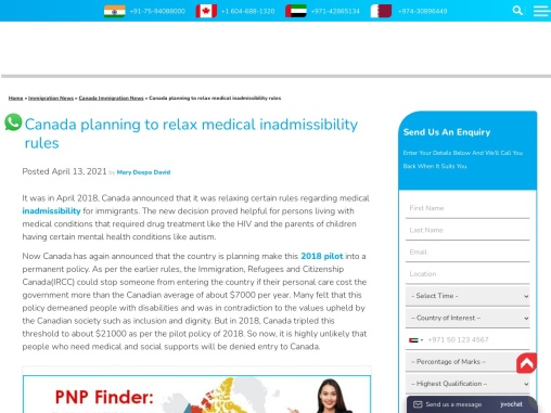 Canada planning to relax medical inadmissibility rules