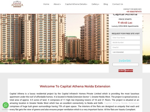Buy a residanceal apartment in Capital Athena Noida west.