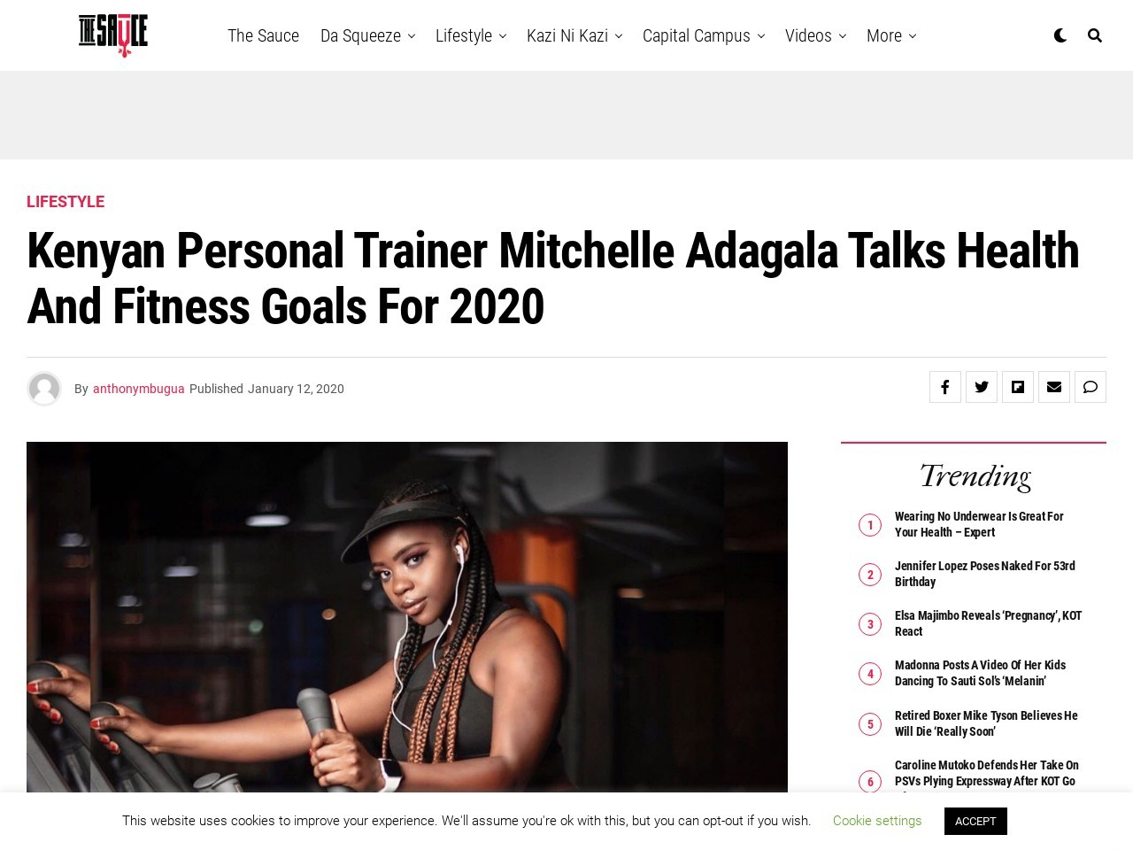 Kenyan personal trainer Mitchelle Adagala talks health and fitness goals for 2020