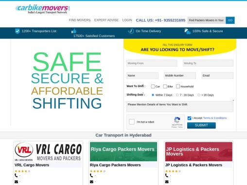 Car Transport in Hyderabad – Car Transportation Services & Charges in Hyderabad – Carbikemovers.com