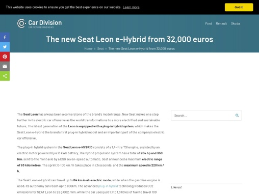The new Seat Leon plug-in hybrid with 204 hp