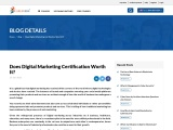 Is it worth doing Digital Marketing Certification?
