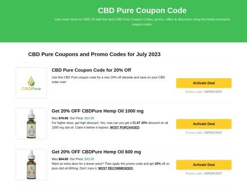 CBD Pure Coupon Code | CBD Pure Coupon Codes