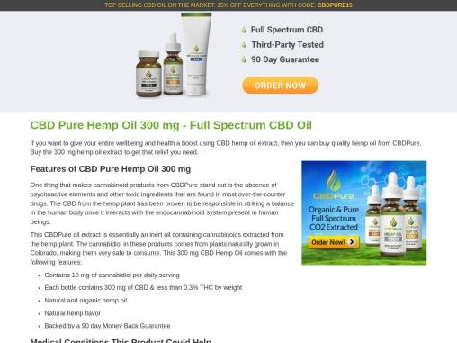 CBD Pure Hemp Oil 300 | CBD Pure Hemp Oil 300Mg