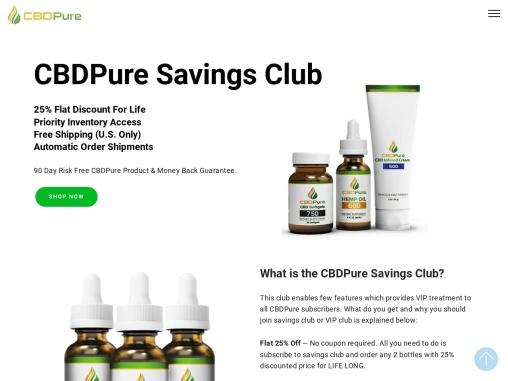 CBDPure Savings Club | CBD Pure Coupon Code