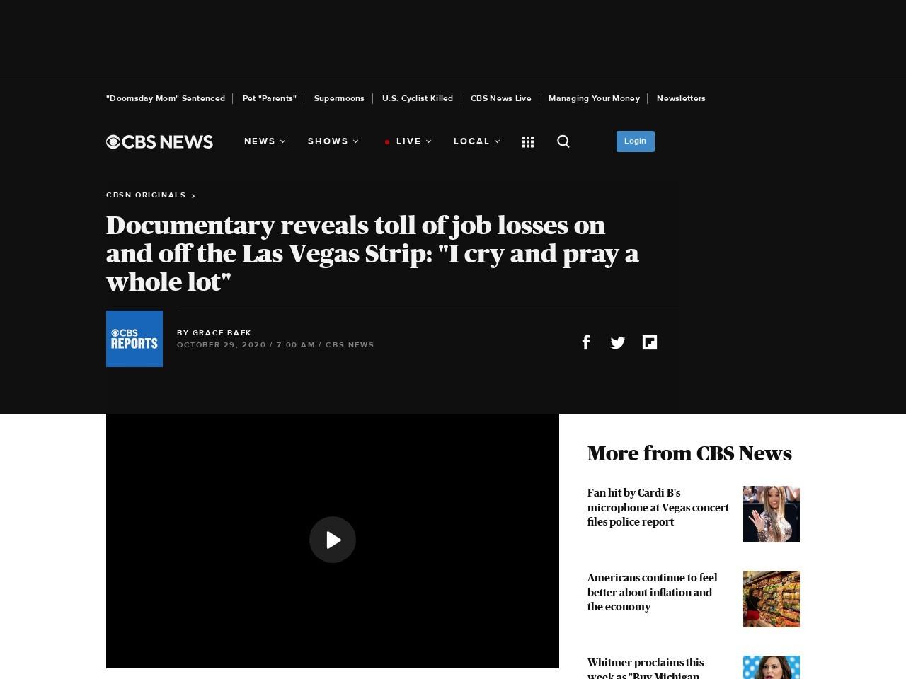 "Las Vegas job losses take toll: ""I cry and pray a whole lot"""