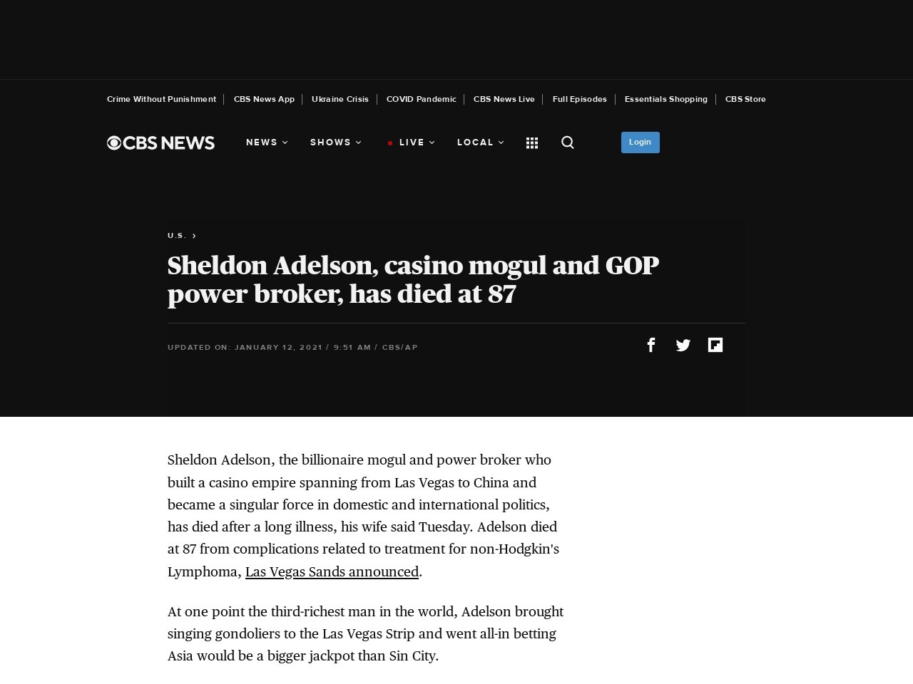 Sheldon Adelson, GOP power broker, has died at 87