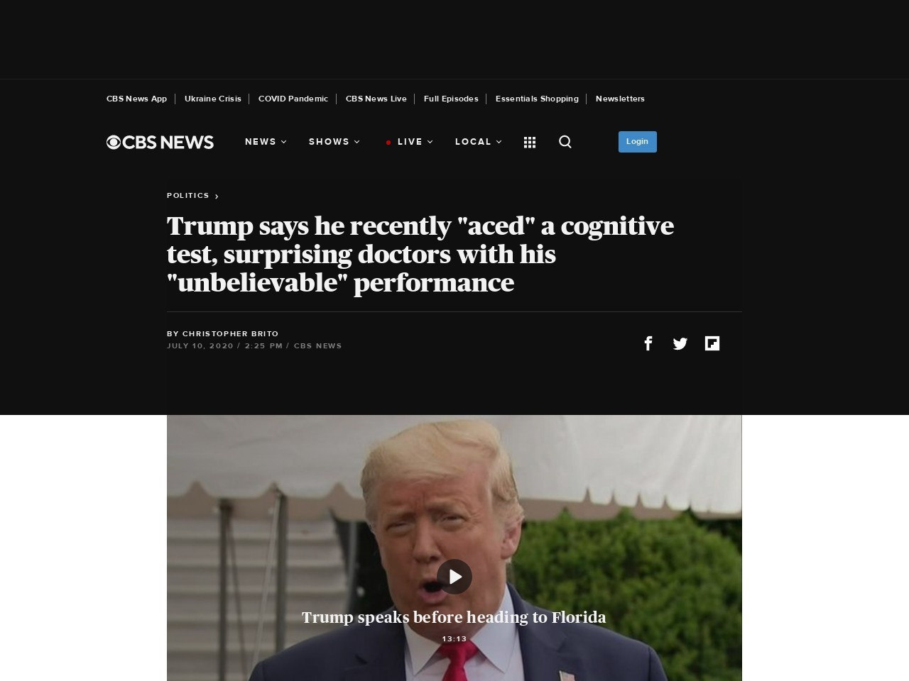 "Trump claims he recently ""aced"" a cognitive test, shocking doctors with his ""unbelievable""…"