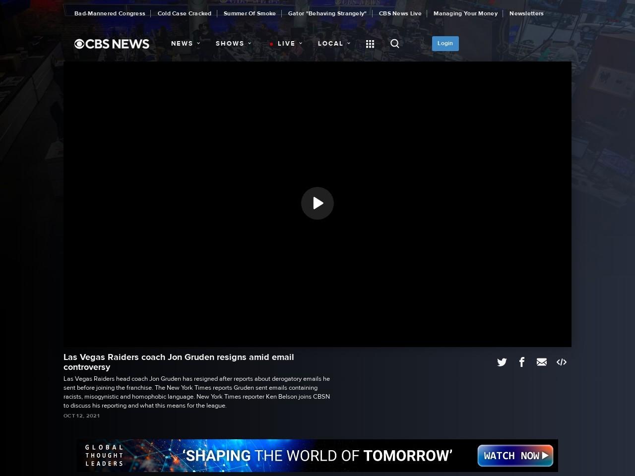 Las Vegas Raiders coach Jon Gruden resigns amid email controversy