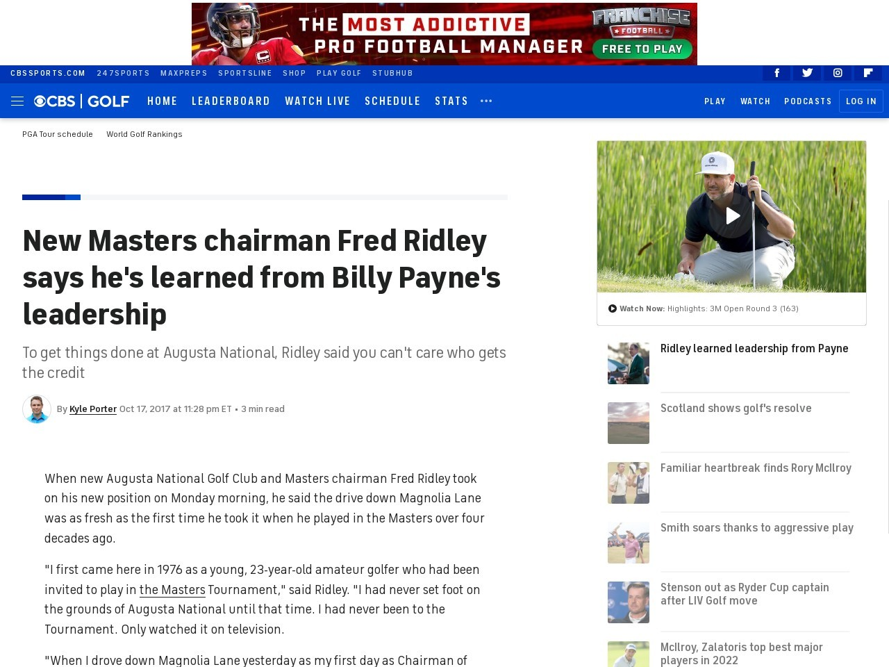New Masters chairman Fred Ridley says he's learned from Billy Payne's leadership