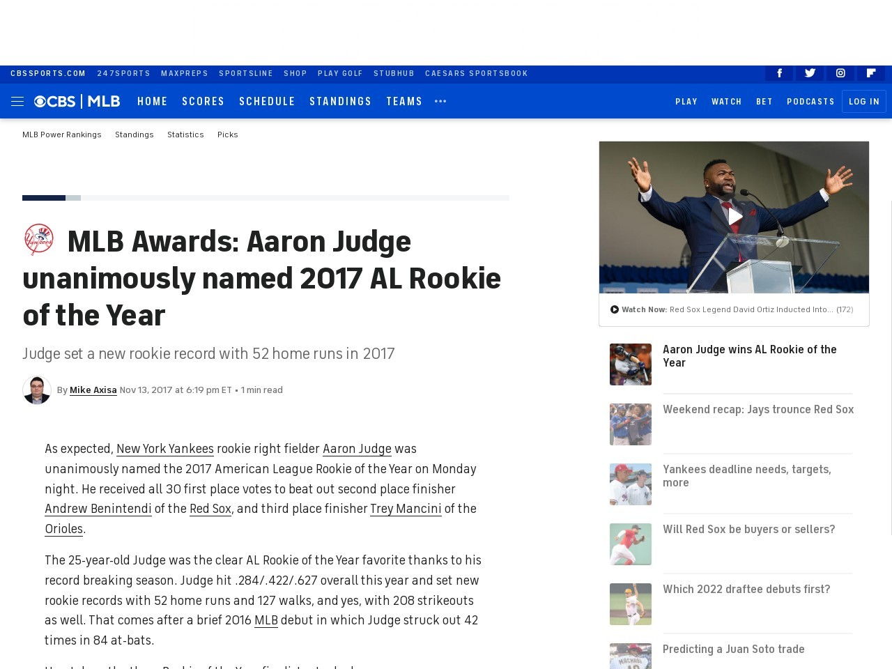 MLB Awards: Aaron Judge unanimously named 2017 AL Rookie of the Year