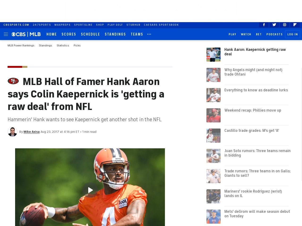 MLB Hall of Famer Hank Aaron says Colin Kaepernick is 'getting a raw deal' from NFL