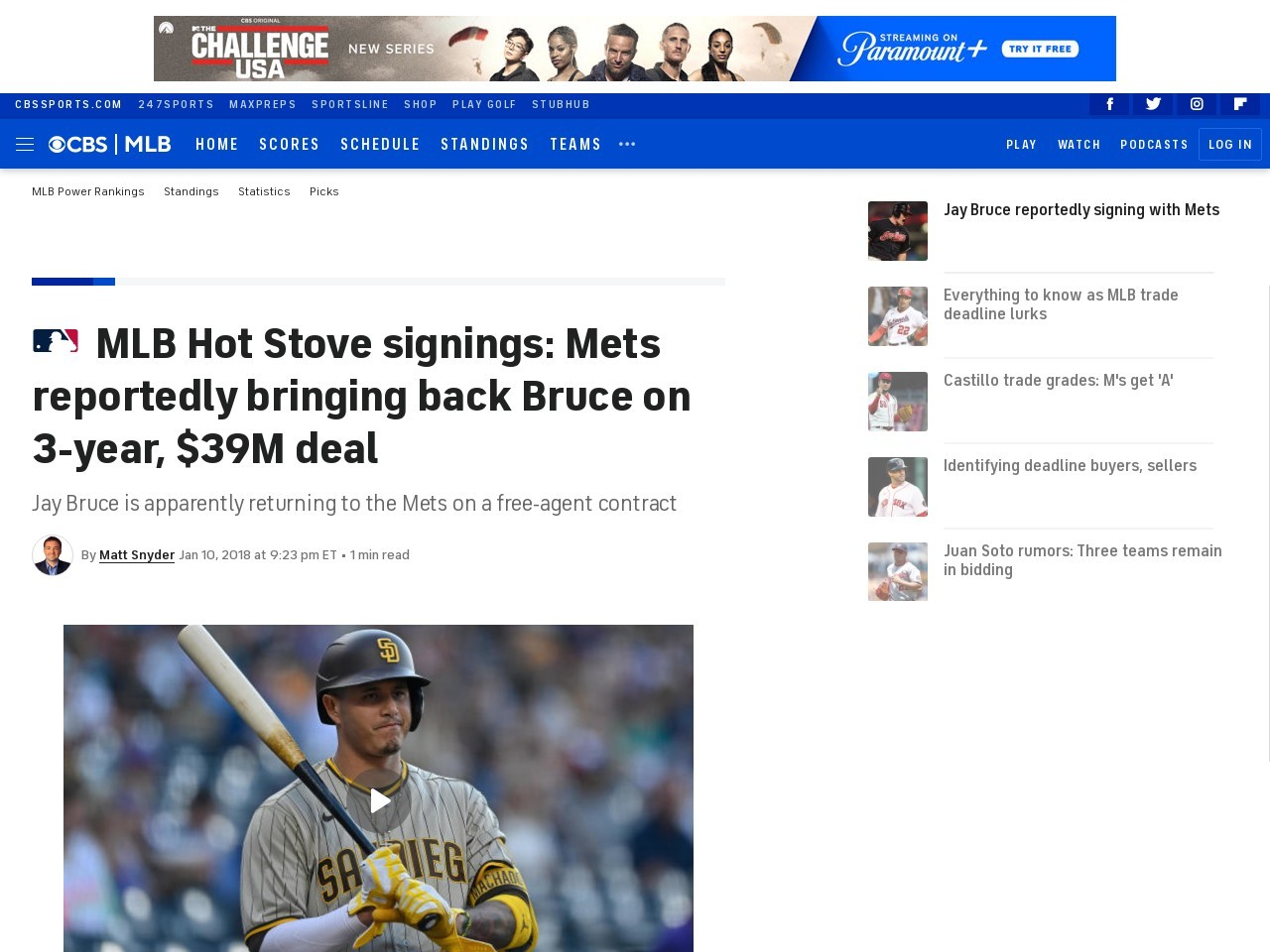 MLB Hot Stove signings: Mets reportedly bringing back Bruce on 3-year, $39M deal