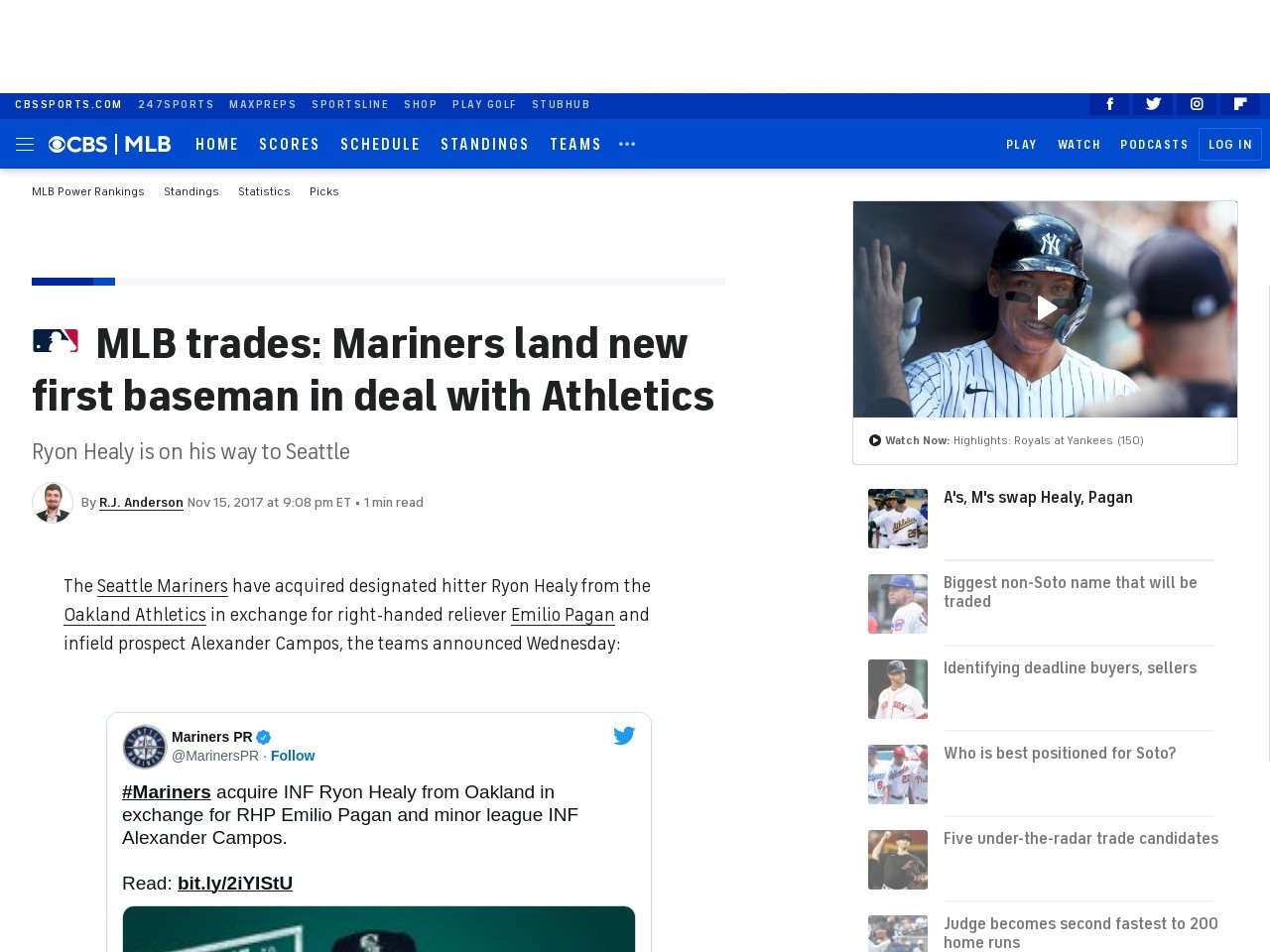 MLB trades: Mariners land new first baseman in deal with Athletics