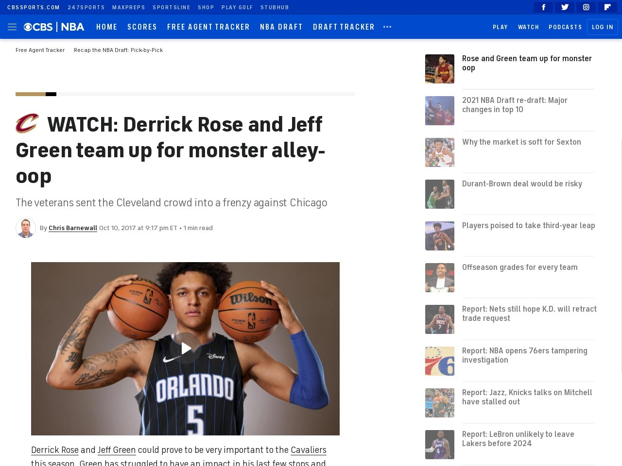 WATCH: Derrick Rose and Jeff Green team up for monster alley-oop