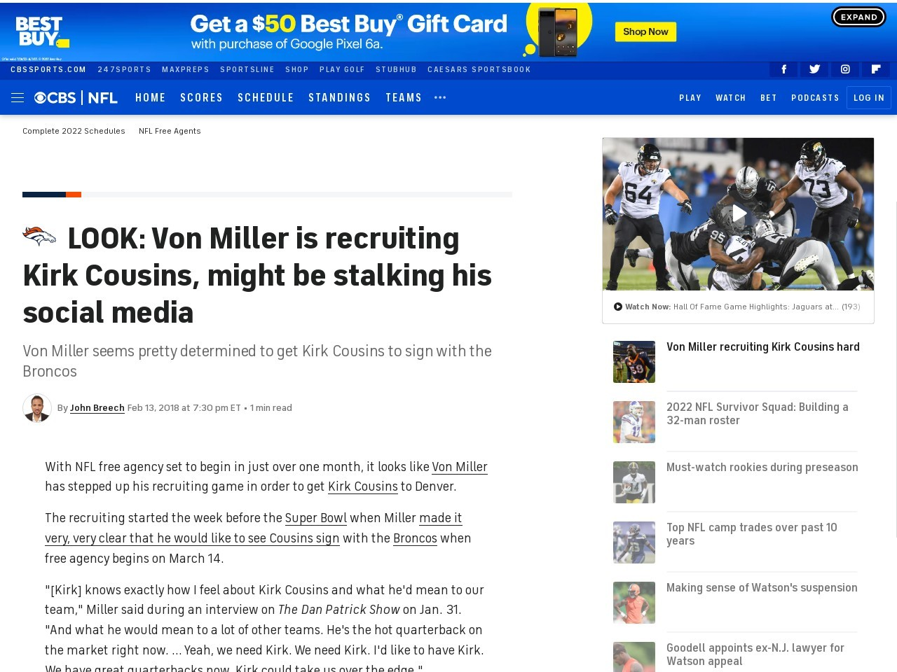 LOOK: Von Miller is recruiting Kirk Cousins, might be stalking his social media