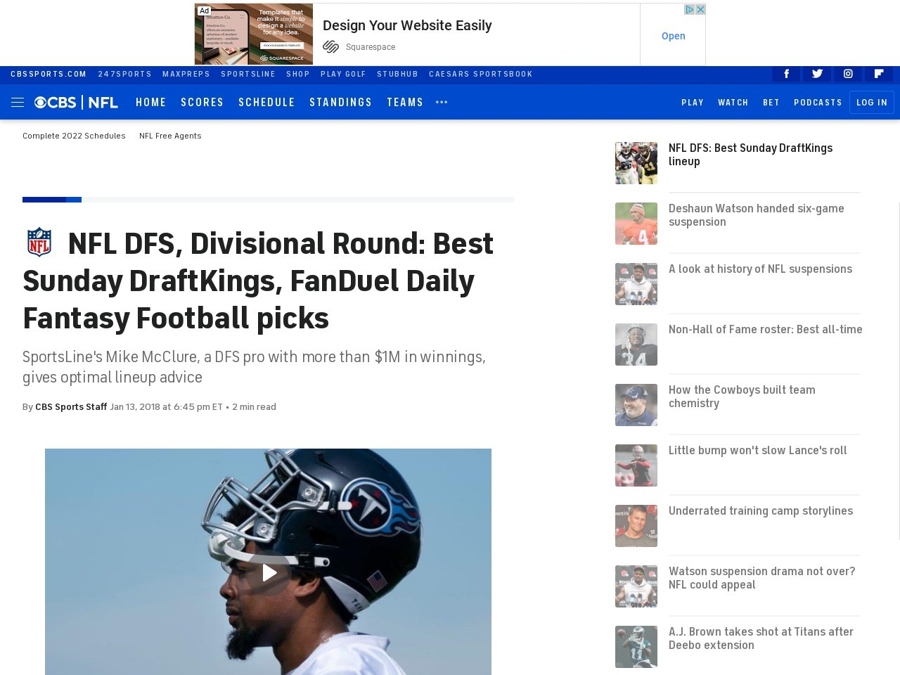 NFL DFS, Divisional Round: Best Sunday DraftKings, FanDuel Daily Fantasy Football picks