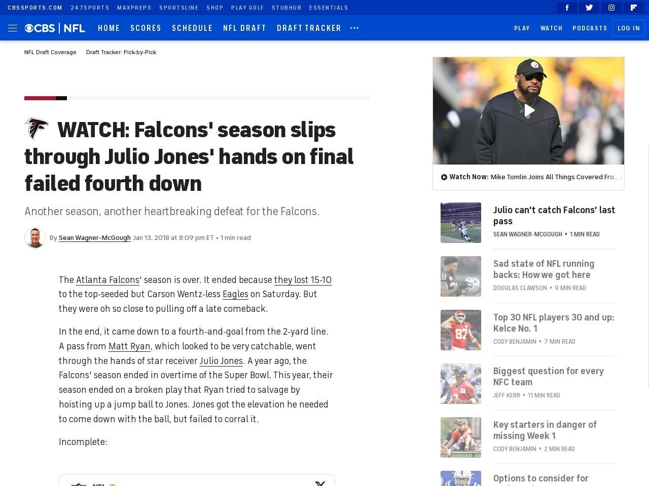 WATCH: Falcons' season slips through Julio Jones' hands on final failed fourth down