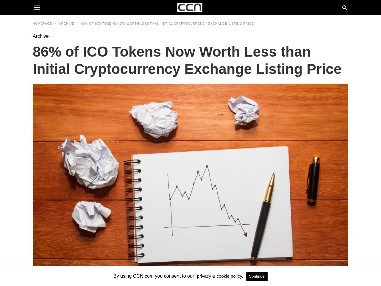 86% of ICO Tokens Now Worth Less than Initial Cryptocurrency Exchange Listing Price