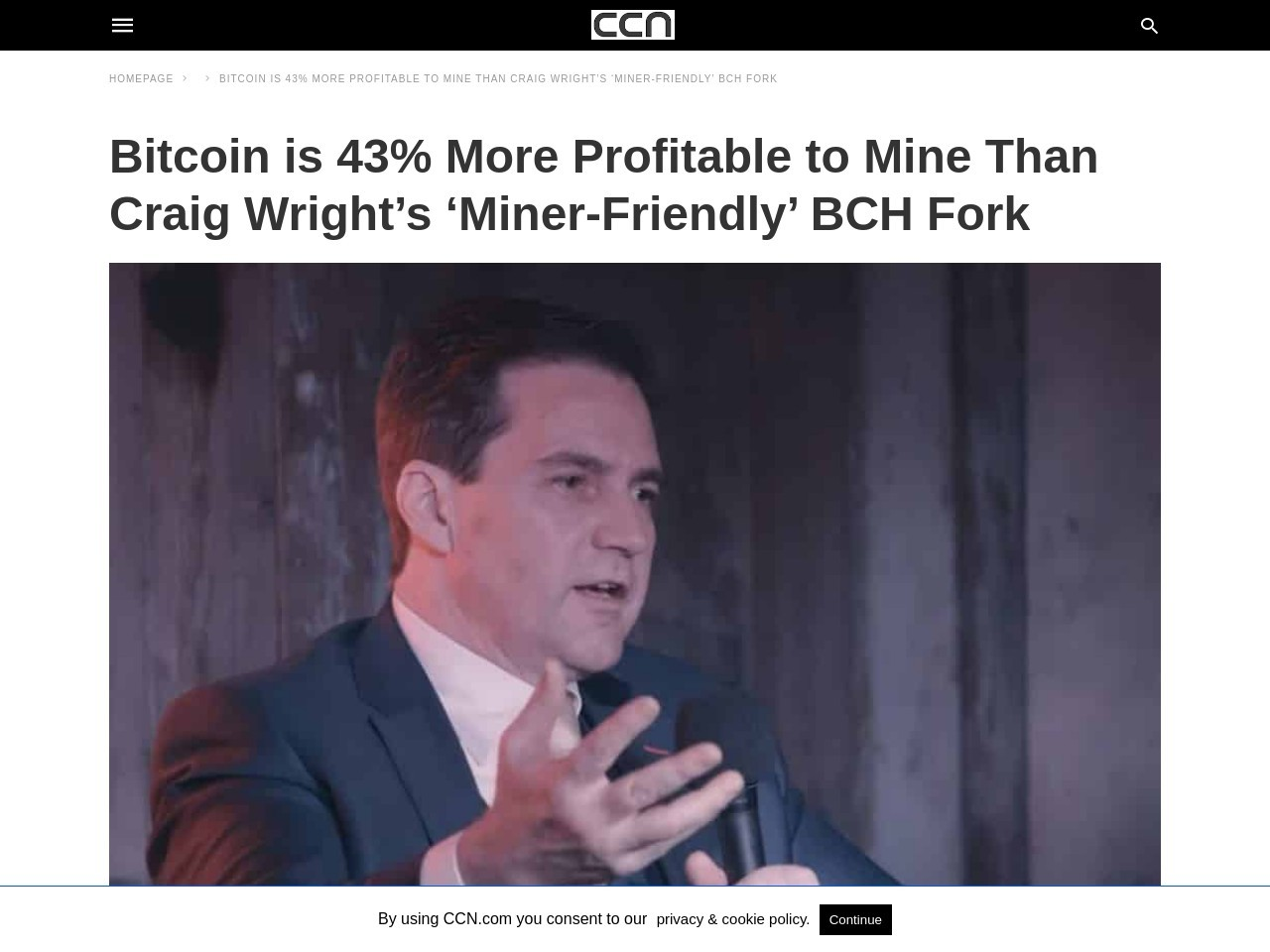 Bitcoin is 43% More Profitable to Mine Than Craig Wright's 'Miner-Friendly' BCH Fork